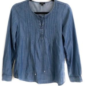Talbots Chambray Long Sleeve Lace Top Size P